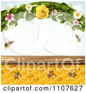 Clipart Bees And Honeycombs With Flowers 4 Royalty Free Vector Illustration