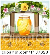 Clipart Bees And Honeycombs Under A Jar In A Frame With Flowers And Grass Royalty Free Vector Illustration