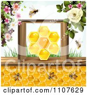 Clipart Bees And Honeycombs With Flowers 2 Royalty Free Vector Illustration