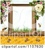 Clipart Bees And Honeycombs With Flowers 6 Royalty Free Vector Illustration