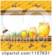 Clipart Bees And Honeycombs Bordering Three Jars And Grass Royalty Free Vector Illustration