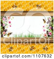 Clipart Bees And Honeycombs With Flowers 3 Royalty Free Vector Illustration