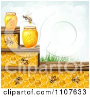 Clipart Bee And Honeycomb Steps With Jars Grass And Sky Royalty Free Vector Illustration by merlinul