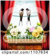 Red Drapes Framing A Pair Of Swallows Over A Rose Garden
