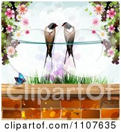 Pair Of Swallows Over Grass With Blossoms Hearts And A Butterfly Above Bricks