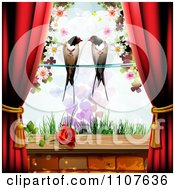 Red Drapes Framing A Pair Of Swallows Over Grass With A Rose On The Window Sill