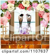 Pair Of Swallows Framed In Wood And Roses With Hearts Above Bricks