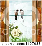 Clipart Pair Of Swallows Over Grass And A Rose Through A Brick Window Frame Royalty Free Vector Illustration by merlinul