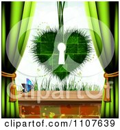 Clipart Butterfly And Brick Background With A Grassy Key Hole Heart And Drapes Royalty Free Vector Illustration