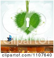 Clipart Butterfly And Brick Background With A Grass Key Hole Heart Royalty Free Vector Illustration