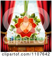 Clipart Butterfly And Brick Background With A Rose Heart And Drapes Royalty Free Vector Illustration