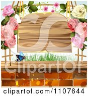 Clipart Butterfly And Brick Background With Roses And A Sign Royalty Free Vector Illustration