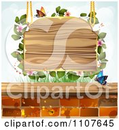 Clipart Butterfly And Brick Background Blossoms And A Suspended Sign Royalty Free Vector Illustration