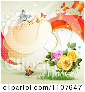 Clipart Butterfly Frame With Roses Royalty Free Vector Illustration