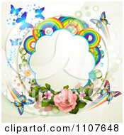 Clipart Butterfly Frame With Roses And Rainbow Circles 1 Royalty Free Vector Illustration