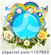 Clipart Butterfly Frame With Roses And Rainbow Circles 3 Royalty Free Vector Illustration