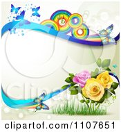 Clipart Butterfly Frame With Roses And Rainbow Circles 2 Royalty Free Vector Illustration