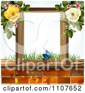 Clipart Butterfly And Brick Background With Roses 1 Royalty Free Vector Illustration