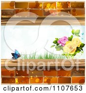 Clipart Butterfly And Brick Background With Roses 2 Royalty Free Vector Illustration