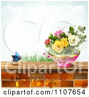 Clipart Butterfly And Brick Background With Roses 3 Royalty Free Vector Illustration