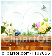 Clipart Butterfly And Brick Background With Roses 4 Royalty Free Vector Illustration