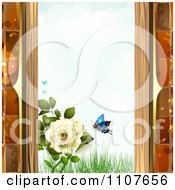 Clipart Butterfly And Brick Background With Roses 5 Royalty Free Vector Illustration