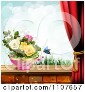 Clipart Butterfly And Brick Background With Drapes And Roses 4 Royalty Free Vector Illustration