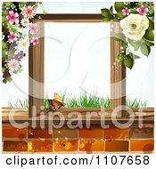 Clipart Butterfy In A Wooden Frame With Grass Blossoms And A Rose Over Bricks Royalty Free Vector Illustration