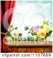 Clipart Butterfly And Brick Background With Drapes And Roses 2 Royalty Free Vector Illustration