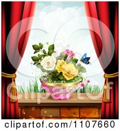 Clipart Butterfly And Brick Background With Drapes And Roses 3 Royalty Free Vector Illustration by merlinul