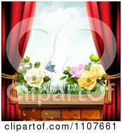 Clipart Butterfly And Brick Background With Drapes And Roses 1 Royalty Free Vector Illustration