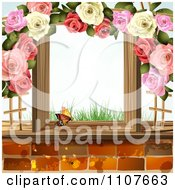 Clipart Butterfly And Brick Background With Roses 7 Royalty Free Vector Illustration