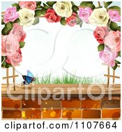 Clipart Butterfly And Brick Background With Roses 6 Royalty Free Vector Illustration