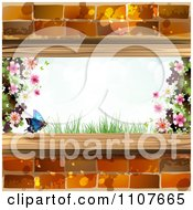 Clipart Butterfly And Brick Background With Blossoms 1 Royalty Free Vector Illustration