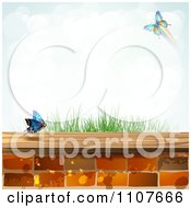 Clipart Butterfly And Brick Background With Grass Royalty Free Vector Illustration