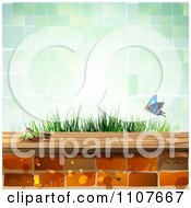 Clipart Butterfly And Brick Background With A Cricket And Green Tiles Royalty Free Vector Illustration