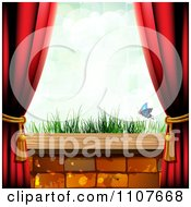 Clipart Butterfly And Brick Background With Drapes And Grass Royalty Free Vector Illustration