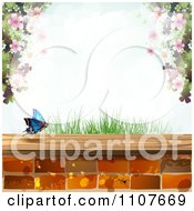 Clipart Butterfly And Brick Background With Blossoms 2 Royalty Free Vector Illustration