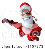 Clipart 3d Super Santa Flying 5 Royalty Free CGI Illustration