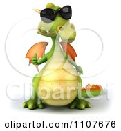 Clipart 3d Green Dragon Wearing Sunglasses And Holding A Thumb Up 1 Royalty Free CGI Illustration by Julos