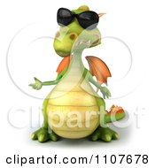Clipart 3d Green Dragon Wearing Sunglasses And Presenting 1 Royalty Free CGI Illustration