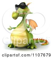 Clipart 3d Green Dragon Wearing Sunglasses And Presenting 2 Royalty Free CGI Illustration