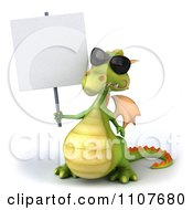 Clipart 3d Green Dragon Wearing Sunglasses And Holding A Sign 1 Royalty Free CGI Illustration