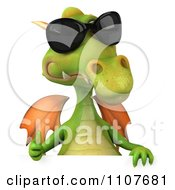 Clipart 3d Green Dragon Wearing Sunglasses And Holding A Sign 2 Royalty Free CGI Illustration