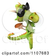Clipart 3d Green Dragon Wearing Sunglasses And Holding A Sign 4 Royalty Free CGI Illustration