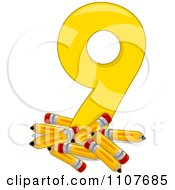 Clipart Number Nine With 9 Pencils Royalty Free Vector Illustration