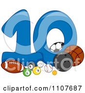 Clipart Number Ten With 10 Balls Royalty Free Vector Illustration