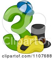Clipart Number Three With 3 Hats Royalty Free Vector Illustration