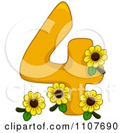 Clipart Number Four With 4 Sunflowers Royalty Free Vector Illustration
