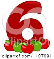 Clipart Number Six With 6 Apples Royalty Free Vector Illustration